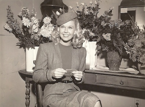 Doris in her dressing room on the first day of shooting her first movie,